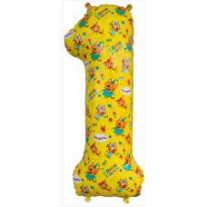Шар (34''/86 см) Цифра, 1 Три Кота, Желтый, 1 шт. в упак. Falali