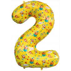 Шар (34''/86 см) Цифра, 2 Три Кота, Желтый, 1 шт. в упак. Falali