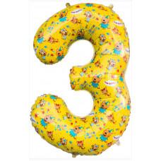 Шар (34''/86 см) Цифра, 3 Три Кота, Желтый, 1 шт. в упак. Falali