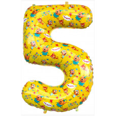 Шар (34''/86 см) Цифра, 5 Три Кота, Желтый, 1 шт. в упак. Falali