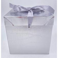 Коробка складная, Кожа, Серебро, 15*15*15 см, 1 шт.