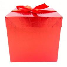 Коробка складная, Кожа, Красный, 15*15*15 см, 1 шт.