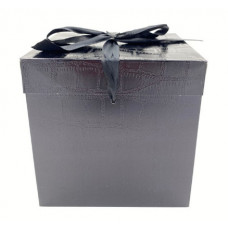 Коробка складная, Кожа, Черный, 15*15*15 см, 1 шт.