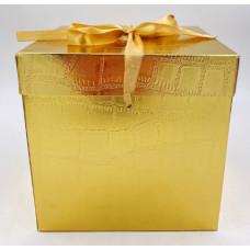 Коробка складная, Кожа, Золото, 22*22*22 см, 1 шт.