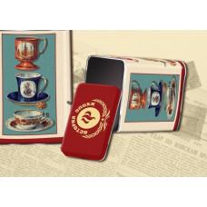 """Коробка-банка жестяная прямоугольная для сыпучих продуктов """"Чашки"""" 9.8*6*16.2см 900мл"""