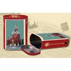 """Коробка-банка жестяная прямоугольная для сыпучих продуктов """"Кремль"""" 13.5*7.5*19.2см 1700мл"""