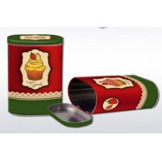 """Коробка-банка жестяная для сыпучих продуктов """"Пирожное"""" 13.5*7.5*19.2см 1700мл"""