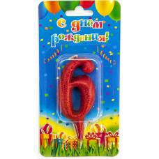 Свеча Цифра, 6 Овал, Красный, с блестками, 8 см, 1 шт.