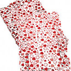 Салфетки ажурные цветные прямоугол. красные сердечки 19х30см 250шт/уп