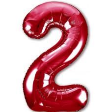 Шар (40''/102 см) Цифра, 2 Slim, Красный, 1 шт. в упак. Agura