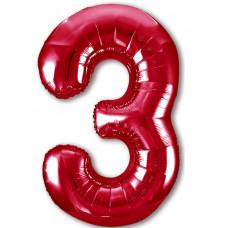 Шар (40''/102 см) Цифра, 3 Slim, Красный, 1 шт. в упак. Agura