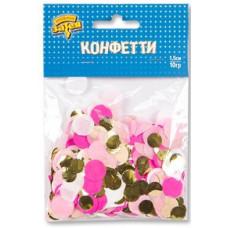 Конфетти тишью Круг, Розовый/Золото, 1,5 см, 10 гр.