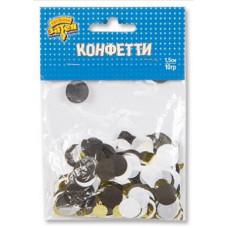 Конфетти тишью Круг, Черный/Золото, 1,5 см, 10 гр.