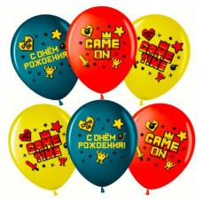 Шар (12''/30 см) Game Time, С Днем Рождения!, Ассорти, пастель, 2 ст, 25 шт. Волна веселья