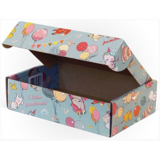 Коробка складная Детский праздник, С Днем Рождения!, Голубой, 22*15*6 см, 5 шт.