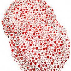 Салфетки ажурные цветные круглые красные сердечки d30см 50шт/уп