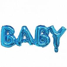 """Шар (32''/81 см) Фигура, Надпись """"Baby"""", Синий, 1 шт. Falali"""