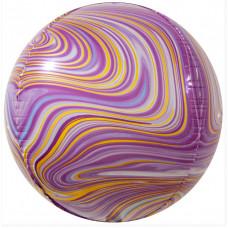 Шар (24''/61 см) Сфера 3D, Мраморная иллюзия, Сиреневый, Агат, 1 шт. Falali