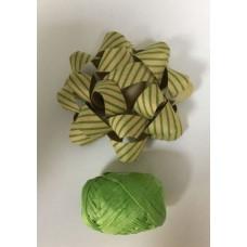 """Набор подарочный из крафт бумаги """"Бант"""" + лента 2.5см из немелованной бумаги зелёный"""