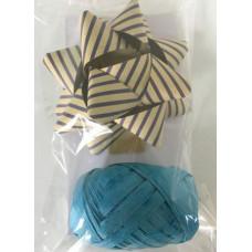 """Набор подарочный из крафт бумаги """"Бант"""" + лента 2.5см из немелованной бумаги голубой"""