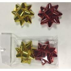 Бант-звезда Металл 2*6см 2шт в наборе красный золотой