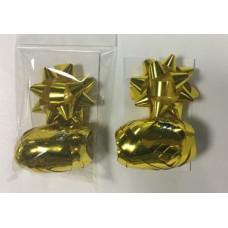 Набор для подарков бант 1.2*6см 1шт золотой+декоративная лента 0.5см*10м