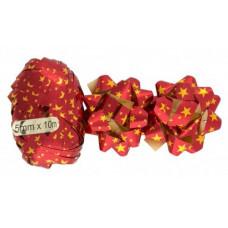 """Набор для подарков бант 1.2*6см """"Звёзды"""" 2шт красный+декоративная лента 0.5см*10м"""