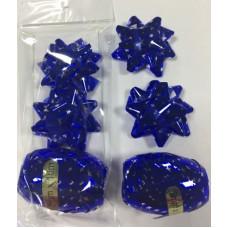"Набор для подарков бант 1.2*6см ""Звёзды"" 2шт синий+декоративная лента 0.5см*10м"