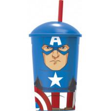 Стакан пластиковый с соломинкой и крышкой (400 мл) Мстители Капитан Америка, 1 шт.