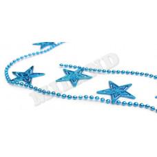 """Новогоднее украшение бусы на елку синие """"Яркие звезды"""""""