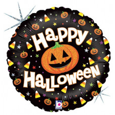 Шар (18''/46 см) Круг, Тыквы на Хэллоуин, Черный, Голография, 1 шт. Grabo
