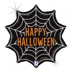 Шар (18''/46 см) Фигура, Паутинка на Хэллоуин, Черный, Голография, 1 шт. Grabo