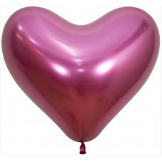 Сердце (14''/36 см) Reflex, Зеркальный блеск, Фуше (912), хром, 50 шт. Sempertex