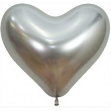 Сердце (14''/36 см) Reflex, Зеркальный блеск, Серебро (981), хром, 50 шт. Sempertex