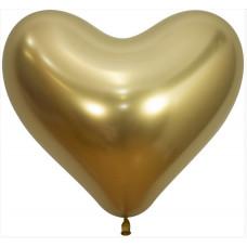 Сердце (14''/36 см) Reflex, Зеркальный блеск, Золото (970), хром, 50 шт. Sempertex