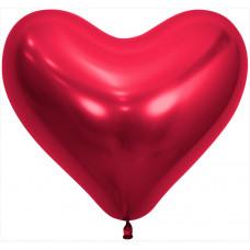 Сердце (14''/36 см) Reflex, Зеркальный блеск, Красный (915), хром, 50 шт. Sempertex