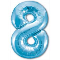 Шар (40''/102 см) Цифра, 8 Slim, Голубой, 1 шт. в упак. Agura