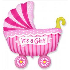 Шар (14''/36 см) Мини-фигура, Коляска для девочки, Розовый, 1 шт. Flexmetal