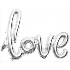 """Шар (41''/104 см) Фигура, Надпись """"Love"""", Серебро, 1 шт. Falali"""