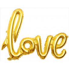 """Шар (41''/104 см) Фигура, Надпись """"Love"""", Золото, 1 шт. Falali"""