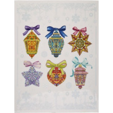 """Новогоднее украшение на окно из ПВХ плёнки """"Разноцветные ёлочные игрушки"""" с раскраской"""