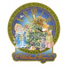 """Новогоднее двустороннее оконное украшение из картона """"Снегурочка и медвежонок"""" с глитером"""