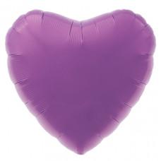 Шар (18''/46 см) Сердце, Пурпурно-фиолетовый, 1 шт. Agura