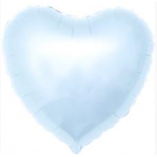 Шар (18''/46 см) Сердце, Нежно-голубой, 1 шт. Agura
