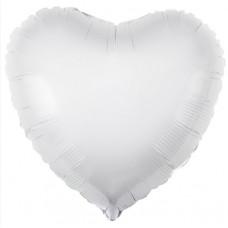 Шар (18''/46 см) Сердце, Белый, 1 шт. Agura