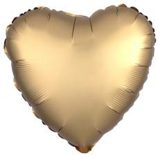 Шар (18''/46 см) Сердце, Золото, Сатин, 1 шт. Agura
