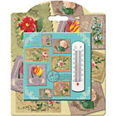 """Термометр декоративный 10*10см """"Коллаж"""" жидкостный в корпусе из доломитовой керамики"""