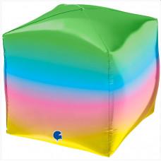 Шар 3D (18''/46 см) Куб, Радужный, 1 шт. Grabo