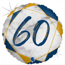 Шар (18''/46 см) Круг, Цифра 60, Мрамор Калакатта, Синий, Голография, 1 шт. Grabo
