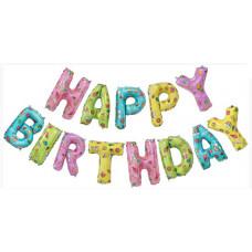 """Набор шаров-букв (14''/36 см) Мини-Надпись """"Happy Birthday"""", Веселые картинки, 1 шт. в упак. Falali"""